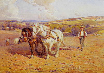 Ploughing Print by Joseph Harold Swanwick