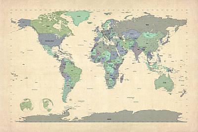 Political Digital Art - Political Map Of The World Map by Michael Tompsett