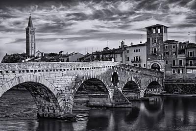 Bnw Photograph - Ponte Pietra Verona by Carol Japp