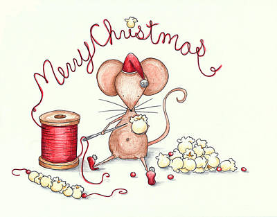 Mouse Drawing - Popcorn Mouse by Sarah LoCascio