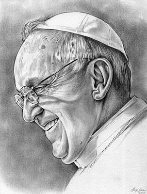 Pope Drawing - Pope Francis by Greg Joens