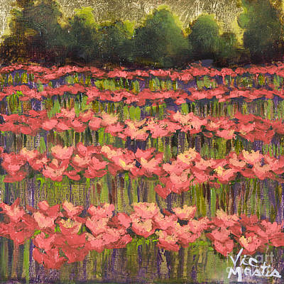 Poppy Field With Gold Leaf By Vic Mastis Print by Vic  Mastis