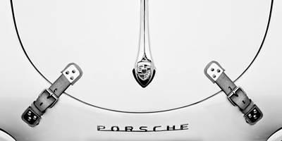 Bw Photograph - Porsche 1600 Hood Emblem by Jill Reger