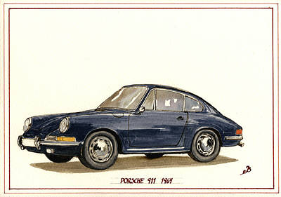 Porsche 911 Classic Print by Juan  Bosco