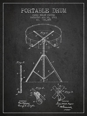 Drum Digital Art - Portable Drum Patent Drawing From 1903 - Dark by Aged Pixel