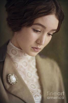 Portrait Of A Beautiful Young Edwardian Woman Print by Lee Avison