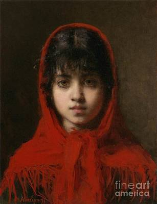 Slavic Painting - Portrait Of A Young Girl by Celestial Images