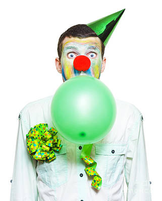 Clown Photograph - Portrait Of Birthday Clown Preparing To Party by Jorgo Photography - Wall Art Gallery
