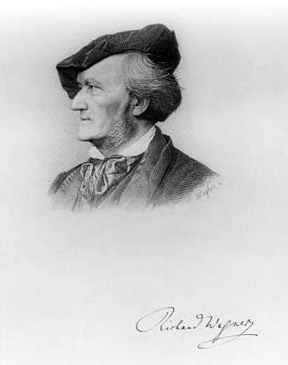 Portrait Of Richard Wagner German Print by German School