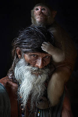 Portrait Of Sadhu Print by Gilles Lougassi