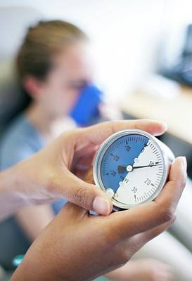Physiotherapist Photograph - Positive Expiratory Pressure Therapy by Science Photo Library