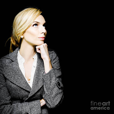 Preoccupied Beautiful Business Woman Print by Jorgo Photography - Wall Art Gallery