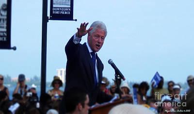 President Clinton In Fort Pierce Print by Megan Dirsa-DuBois
