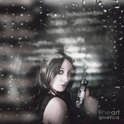 Pretty Female Spy Hiding In Shadows With Weapon Print by Jorgo Photography - Wall Art Gallery