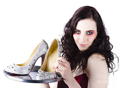 Pretty Woman Selling Shoes On Silver Plate Print by Jorgo Photography - Wall Art Gallery