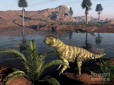 Psittacosaurus Dinosaur, Artwork Print by Walter Myers