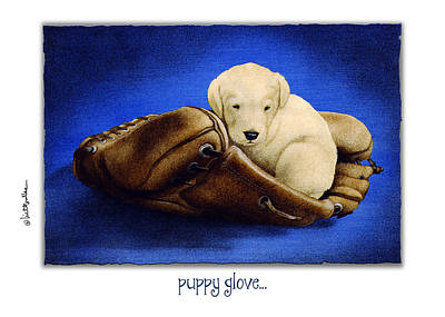 Baseball Card Painting - Puppy Glove... by Will Bullas