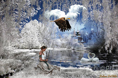 Swan Digital Art - Pure Hearted Warrior by Dolores Develde