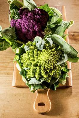 Cauliflower Photograph - Purple And Romanesque Cauliflowers by Aberration Films Ltd
