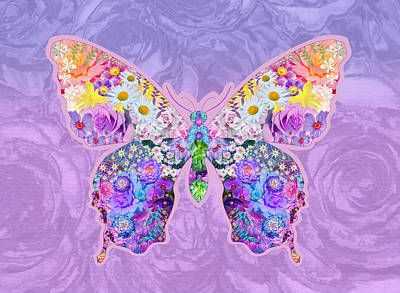 Alixandra Mullins Photograph - Purple Butterfly Floral by Alixandra Mullins
