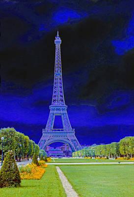 Paris Surreal Parks Photograph - Purple Eiffel by Chuck Staley