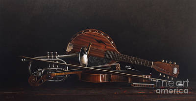 Mandolin Painting - Quartet by Larry Preston