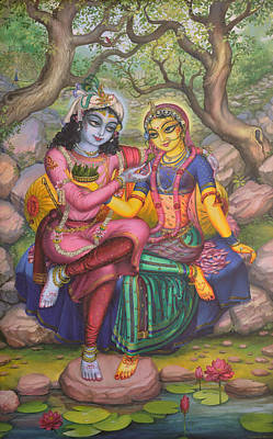 Parrot Art Painting - Radha And Krishna by Vrindavan Das