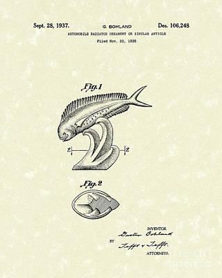 Radiator Drawing - Radiator Ornament 1937 Patent Art by Prior Art Design