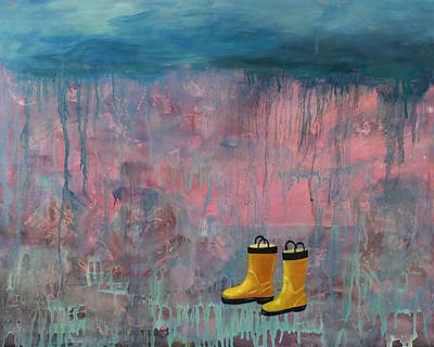 Drips Painting - Rainy Day Galoshes by Guenevere Schwien
