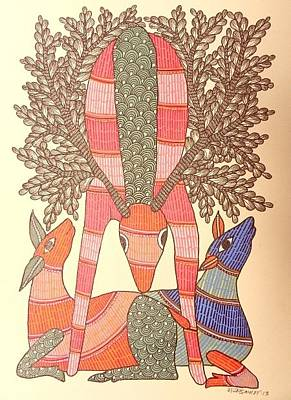 Gond Tribal Art Painting - Raju 82 by Rajendra Shyam