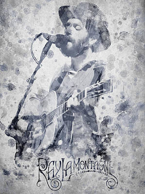 Harmonica Digital Art - Ray Lamontagne Portrait by Aged Pixel
