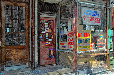 Window Signs Photograph - Record Store In Greenwich Village by KM Corcoran
