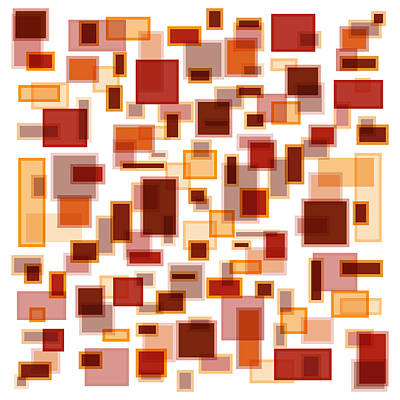 Graphic Drawing - Red Abstract Rectangles by Frank Tschakert