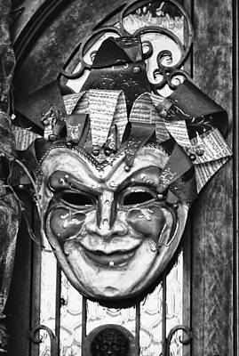 Red And Blue Mask Bw Original by Michael Thomas