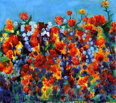 Red And Blue Print by Regina Valluzzi