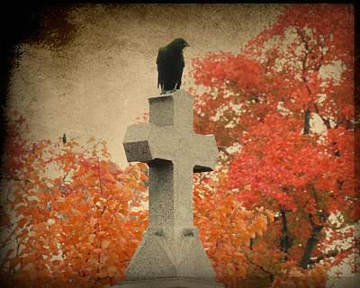 Birds In Graveyard Photograph - Red Autumn  by Gothicolors Donna Snyder
