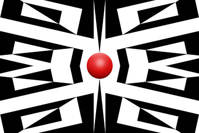 Mike Mcglothlen Modern Art Drawing - Red Ball 8 by Mike McGlothlen