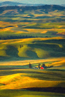 Golds Reds And Greens Digital Art - Red Barn by Dave Lee
