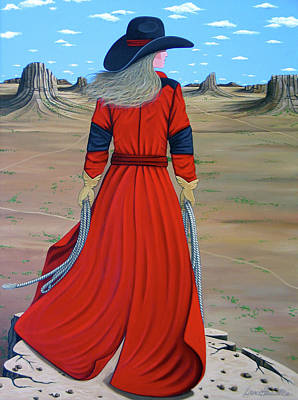 Contemporary Cowgirl Painting - Red by Lance Headlee