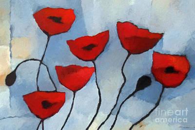 Baar Painting - Red Poppies by Lutz Baar