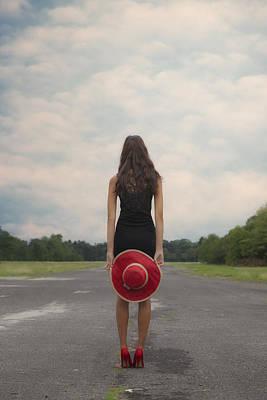 Red Sun Hat Print by Joana Kruse