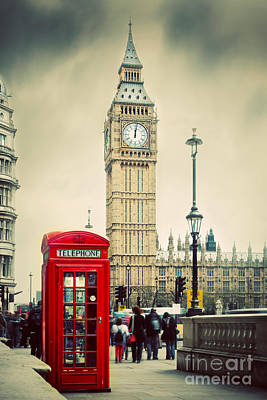 Crowd Photograph - Red Telephone Booth And Big Ben In London by Michal Bednarek