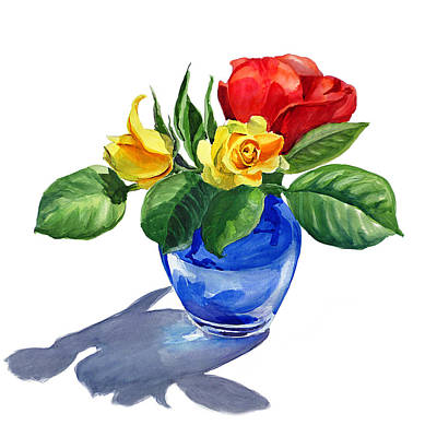Blooming Painting - Red Yellow And Blue by Irina Sztukowski