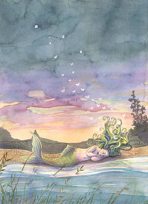 Mermaid Painting - Rest On The Horizon by Sara Burrier