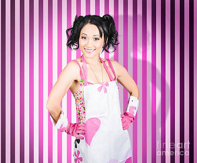 Retro Cleaning Service Maid With Smile Print by Jorgo Photography - Wall Art Gallery