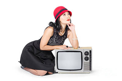Retro Fashion Communication. Girl On Television Print by Jorgo Photography - Wall Art Gallery