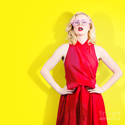 Retro Fashion Model Girl In Bright Summer Glasses Print by Jorgo Photography - Wall Art Gallery