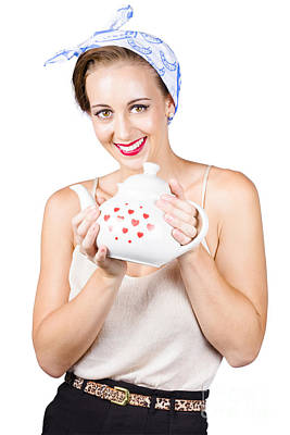 50s Photograph - Retro Housewife With Teapot by Jorgo Photography - Wall Art Gallery
