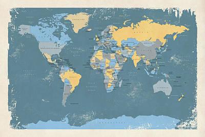 Retro Political Map Of The World Print by Michael Tompsett