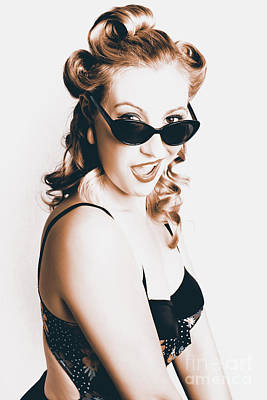 60s Photograph - Retro Sepia Portrait Of A Surprised 60s Pinup Girl by Jorgo Photography - Wall Art Gallery